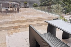 Sawn York Stone with glass screening